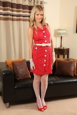 A sophisticated look for Elle in red polka dot dress and seamed stockings - 01