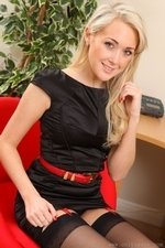 A sexy tight black dress and stockings makes Lucy Anne the perfect secretary in any office - 05