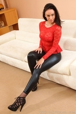 Amazing brunette Claire teasing in skin tight leggings and stockings - 04