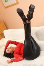 Amazing brunette Claire teasing in skin tight leggings and stockings - 06