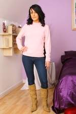 Dark haired Emily J in jeans and pink sweater - 01