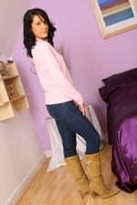Dark haired Emily J in jeans and pink sweater - 02