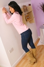 Dark haired Emily J in jeans and pink sweater - 05