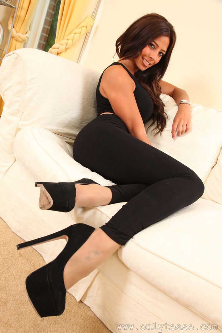 Busty Layla in catsuit and pantyhose