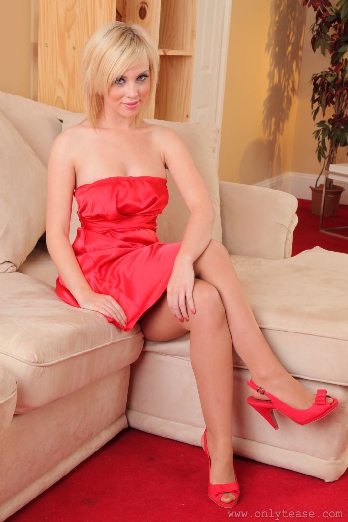 Hannah Martin looking gorgeous as ever in her red evening dress and pantyhose