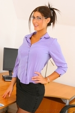 Busty brunette in sexy secretary outfit - 03