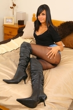 Bebe looks delightful in denim miniskirt tight blouse black pantyhose and high heels - 05