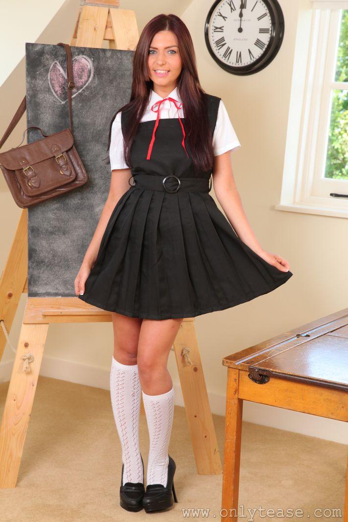 Sexy busty Stephanie in college uniform