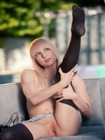Ashely Jane tease wearing heels and stockings pussy showing looks so tight and yummy - 04