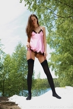 Mika in a pink silky chemise and opaque stockings - 01