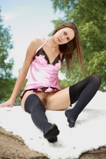 Mika in a pink silky chemise and opaque stockings - 03