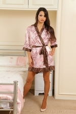 Chelsea flirty in bed so seductive only wearing tan stockings - 01