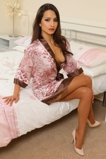 Chelsea flirty in bed so seductive only wearing tan stockings - 03