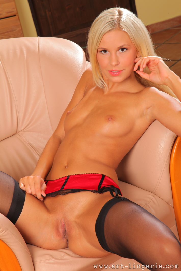 Stunning blonde in black stockings