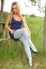 Jodie Outside In Blue Suspenders - Picture 4
