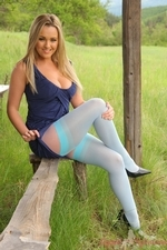 Jodie Outside In Blue Suspenders - Picture 5