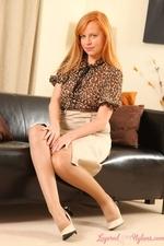 Stunning Redhead Monika The Layered Nylon Secretary - Picture 2