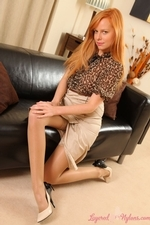 Stunning Redhead Monika The Layered Nylon Secretary - Picture 3