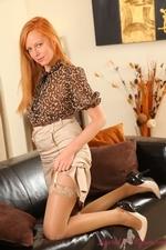 Stunning Redhead Monika The Layered Nylon Secretary - Picture 4