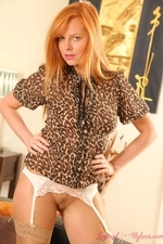 Stunning Redhead Monika The Layered Nylon Secretary - Picture 12