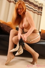 Stunning Redhead Monika The Layered Nylon Secretary - Picture 14