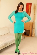 Charli Delu Green Pantyhose Tight Dress Heels Striptease Perky Tits - Picture 1