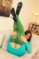 Charli Delu Green Pantyhose Tight Dress Heels Striptease Perky Tits - Picture 5