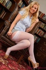 Bubbly Hollie In The Library Flashing Her Layered Nylons - Picture 3