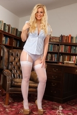 Bubbly Hollie In The Library Flashing Her Layered Nylons - Picture 7