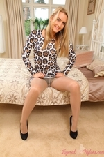 Bubbly Blonde Catherine In Tan Stockings And Pantyhose - Picture 4
