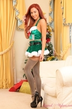 Sexy Redhead Gracie Around The Christmas Tree - Picture 4