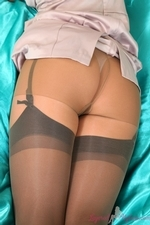 Busty Brunette Kelly M In Satin Lingerie With Nylons - Picture 7