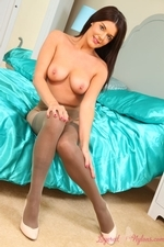 Busty Brunette Kelly M In Satin Lingerie With Nylons - Picture 15