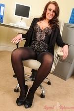 Redhead secretary in layered nylons - 04