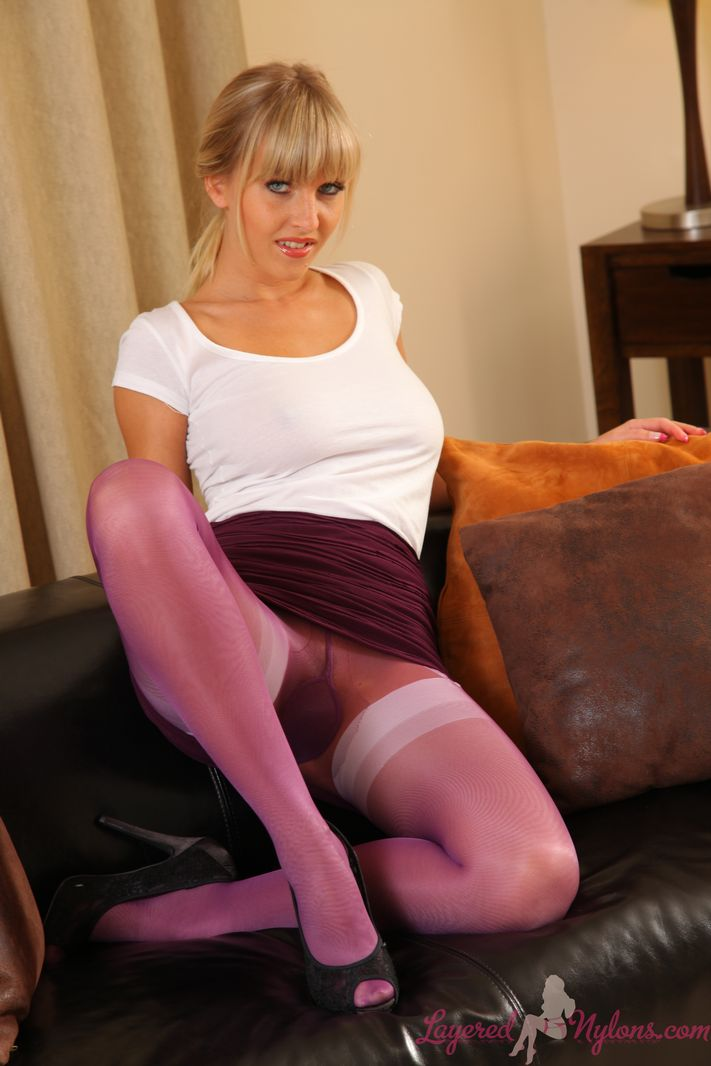 Amazing busty blonde with layered nylons