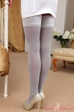 Stunning Brunette Kim B In Tight Dress And Layered Legwear - Picture 4
