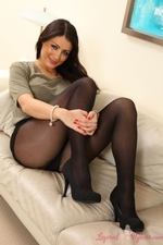 Brunette in miniskirt and layered legwear - 08