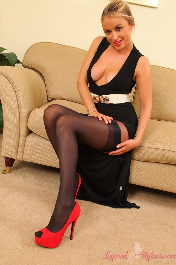 Rosie amazing blonde girl wearing two layers of silky nylons