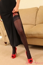 Rosie looks great bursting out of her dress in black layered nylons - 02