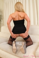 Mega busty blonde in layered nylons - 09