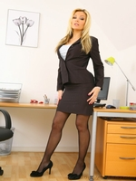 Beauty secretary in miniskirt and satin lingerie - 02