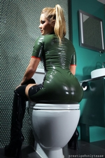 Kinky blonde in a tight latex dress and thigh high boots | 1 May 2013