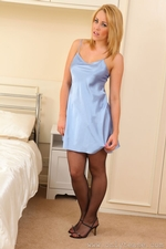 Ami Hannah Looks Great In Silken Lingerie With Black Stockings And Suspenders - Picture 1