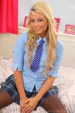 Natalia X In College Uniform With Layered Nylon - Picture 3