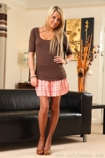 Gorgeous Blonde Rachael F Wearing Her Casual Tight Top And Sexy Short Skirt - Picture 1