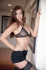 Leggy Maria E In Black Mini Skirt And Suspenders - Picture 10