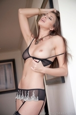 Leggy Maria E In Black Mini Skirt And Suspenders - Picture 14