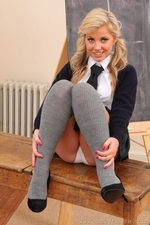 Kaylee stripping in the classroom - 04