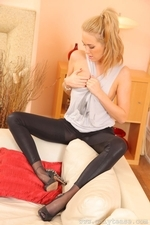 Cute Lucy in the lounge in black leggings and heels - 11