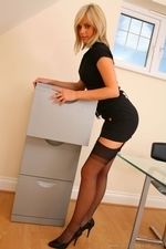 Delightful secretary slips out of the tight minidress and shows off sexy underwear - 04